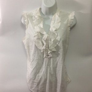 🍄 3 for $25 LOFT Ivory 100% cotton ruffled blouse